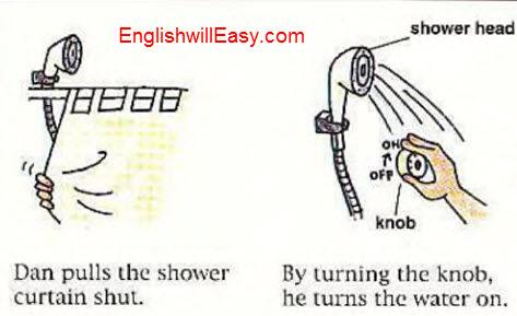 Tomar una ducha-Diccionario de lluniau yn Saesneg ar gyfer gweithgareddau bob dydd.