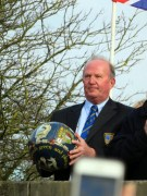 Getting ready to throw the ball into the Shrovetide crowd. Unfortunately a blurred mobile phone obscures some of the photo.