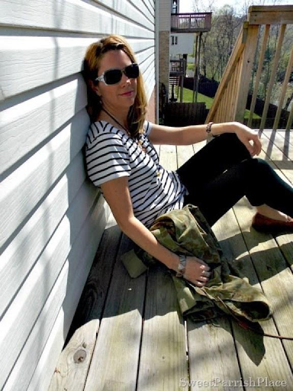 Black Leggings, Striped shirt, camoflauge jacket, brown loafers5