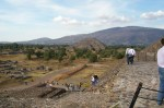 View from the Pyramid of the Sun (half way to the top)  towards the Pyramid of the Moon, Teotihuacan, Mexico.