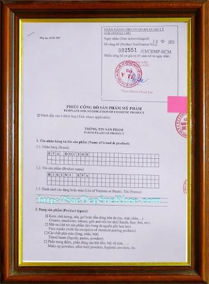 Kem trắng da Vùng kín, kem trắng da vùng bikini Eva Doctor được cấp giấy chứng nhận của Sở Y Tế TP.HCM. Giấy phép: 002551/ 13/ CBMP - HCM.
