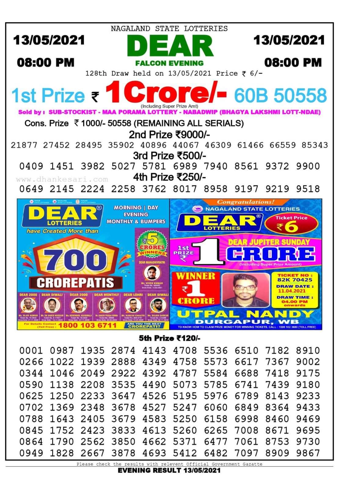 Dhankesari Lottery Sambad Result Today 8:00 PM 13.5.2021