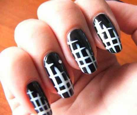 Black And White Polka Dots With Red Tip Nail Art Idea