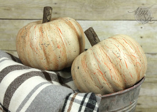 Distressed Dollar Store Pumpkins by The Aim Six