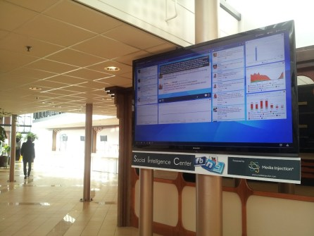 Social media dashboard in lobby van NBC