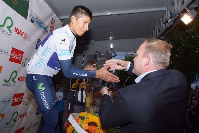trofee voor Nairo Quintana door Bjorn Gevaert