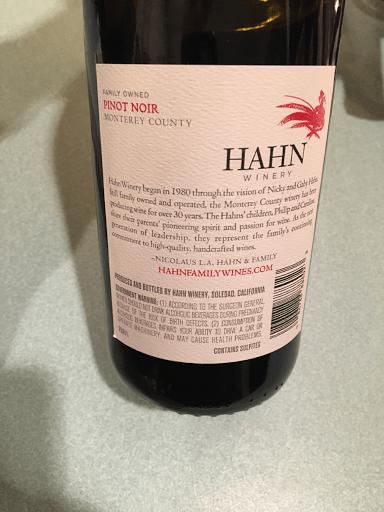 Hahn Pinot Noir Back of Bottle