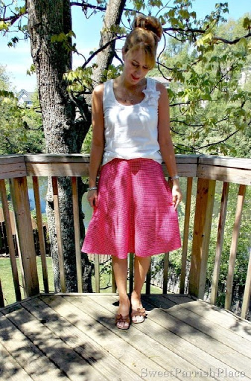 pink polka dotted skirt, white tank, brown sandals1