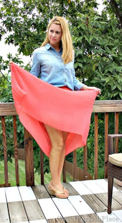 coral-pleated-skirt-chambray-shirt4