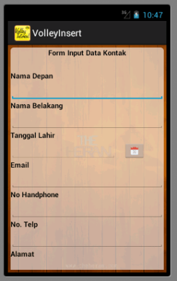Screenshoot Awal Volley Insert Data