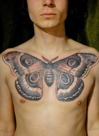 butterfly designs on chest tattoos for men
