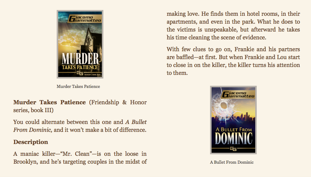 screenshot of mystery listings in GG book, a way to sell more books