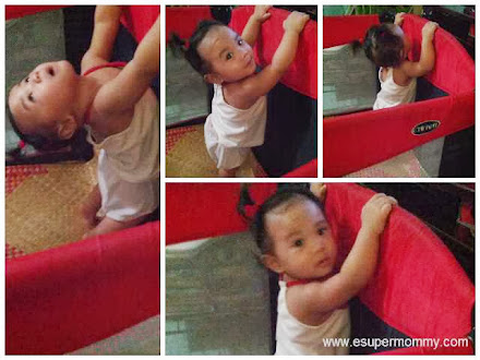 Cute Filipino Baby Girl in Enfant baby playpen