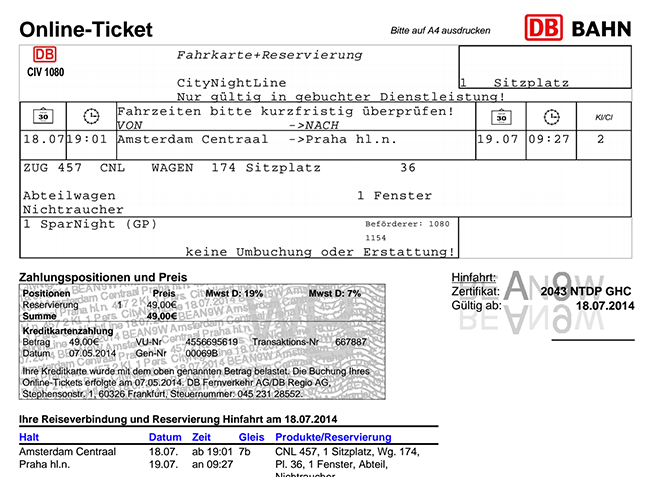 Amsterdam to Prague Train Ticket