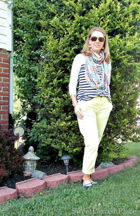 Yellow pants, navy striped shirt, multi colored scarf, navy flats1