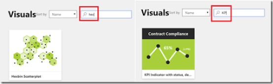 Choosing custom visuals from Power BI Visuals gallery