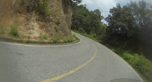 Curvy and steep roads through Oaxaca. Tight left here.