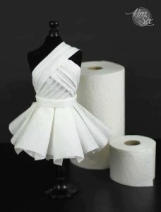 Red Carpet Worthy Haute Couture Dress From Unconventional Materials     Dress made of paper towels and toilet paper