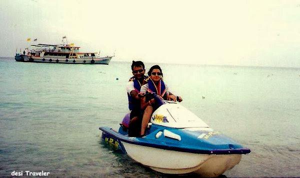 couple on water jet ski in phuket