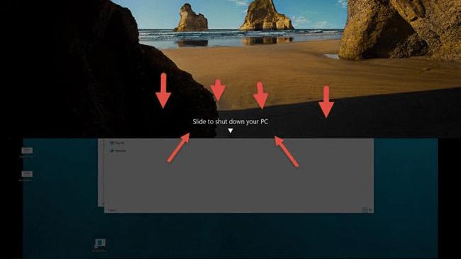 Bật tính năng trượt để tắt máy trong windows