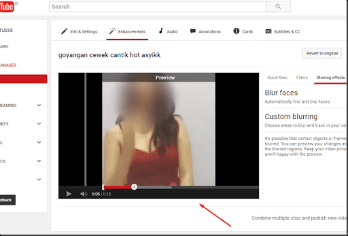 trik membuat sensor wajah video blur youtube