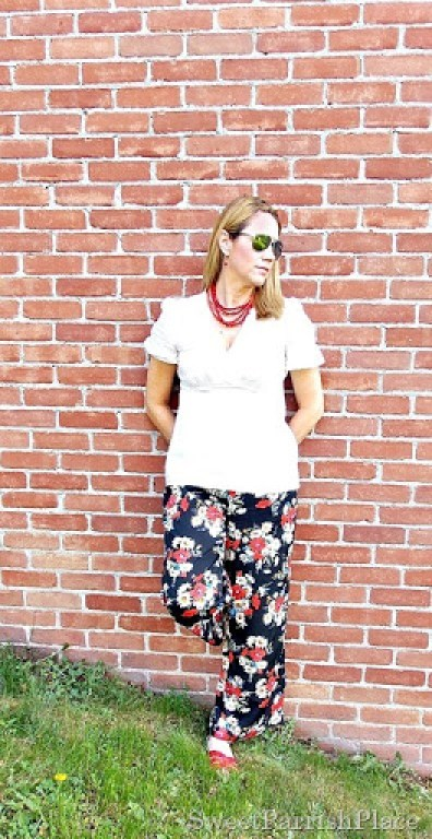 Floral palazzo pants, cream blouse, red salt water sandals2