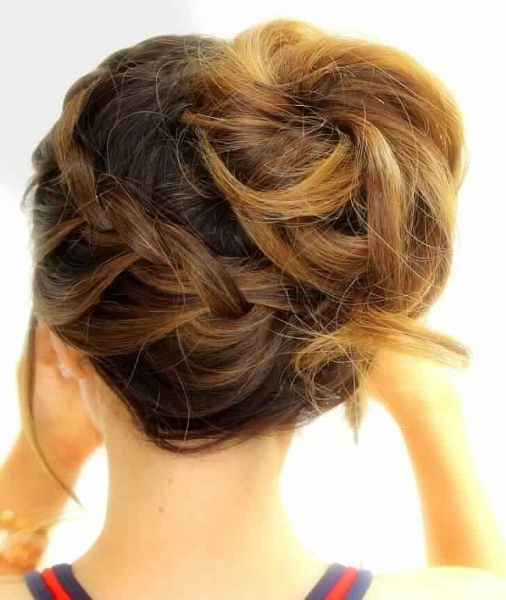 Braided Updo Hairstyle for Medium Hair