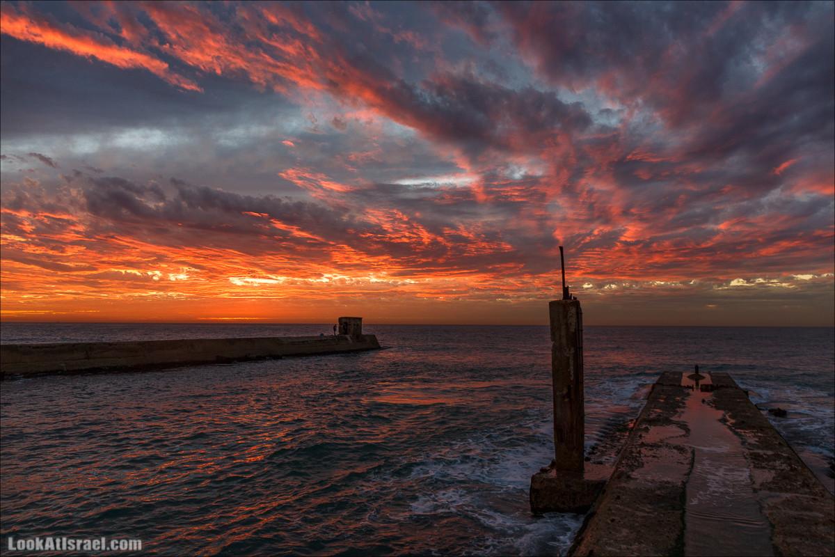 Огненный закат в Тель-Авив   Sunset in Tel_Aviv   LookAtIsrael.com - Фото путешествия по Израилю и не только...