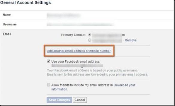 cara menambahkan akun email di facebook