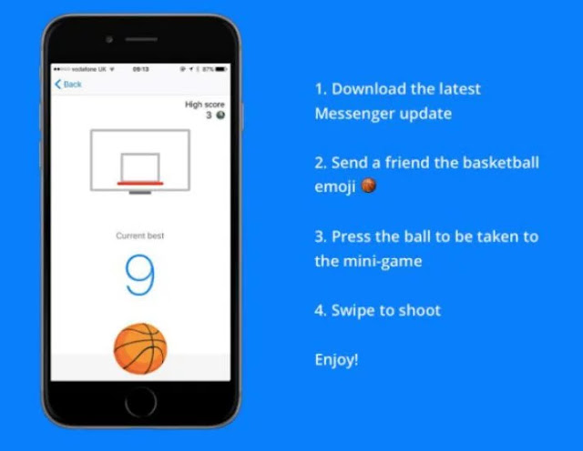 Facebook Adds Basketball Game To  Messenger 1