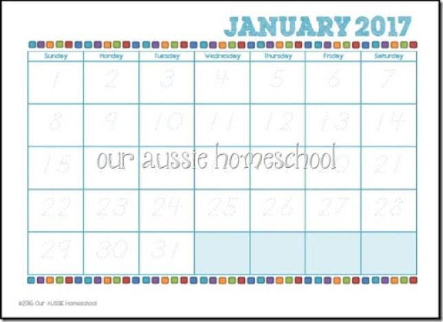 Italic Calendar Printable - Our Aussie Homeschool