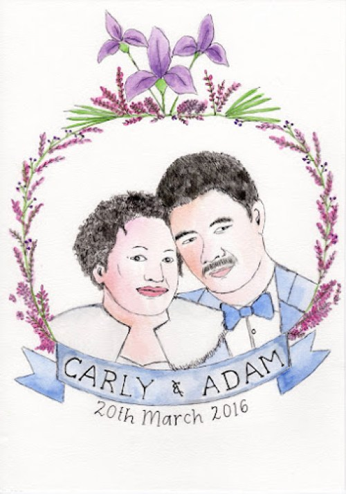 Hand drawn portrait of Carly and Adam, with wedding date of 20 March 2016