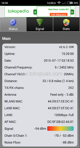 status ubnt ubiquity via android