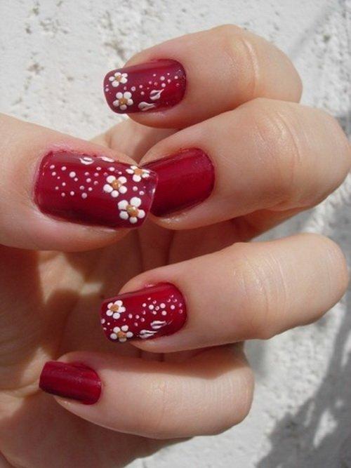 Red Flower Nail Art Design Ideas Styles 2d