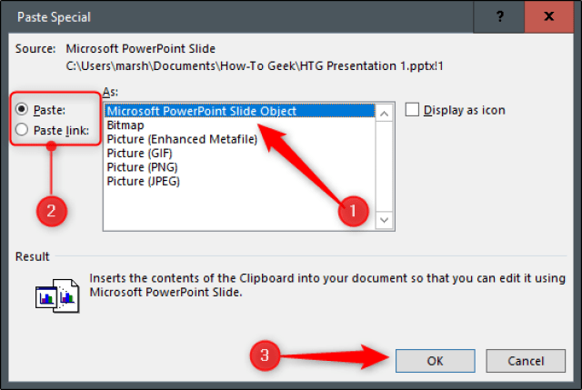 how to embed powerpoint link in Microsoft word