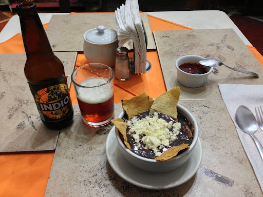Bean soup with tortilla dan Oaxaca cheese