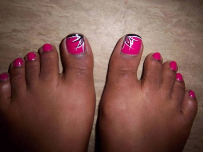 French Tip Toenail Decals On Purple And Silver