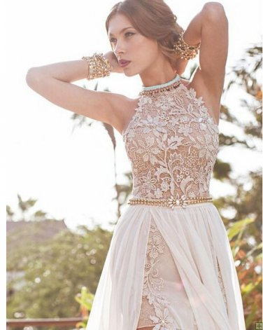 Prom Dress Ideas That Would Make You Stand Out High Neck Lace Pattern Bodice Split High Low Chiffon Prom Dress with Beading