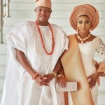Wedding guests aso-ebi styles Stephanie Coker and Olamide Aderinokun