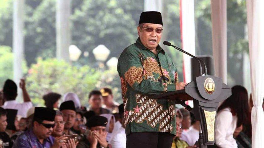 Ketua Umum PBNU Prof. DR KH. Said Aqil Siradj saat memberikan sambutan di puncak peringatan Hari Santri 2016 di Monas Jakarta. Foto: KBA Aswaja.