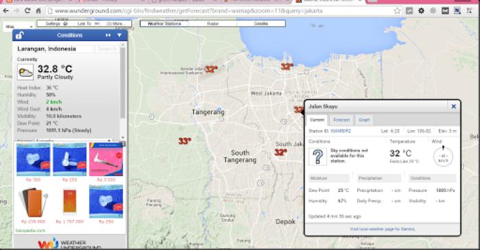 melihat kondisi cuaca di berbagai kota