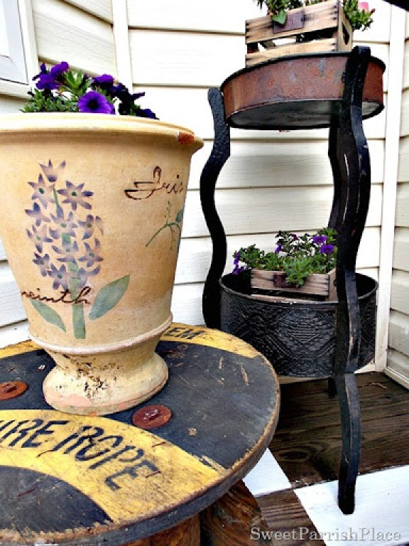 Vintage spool and planter3