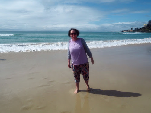 Carly findlay at the beach