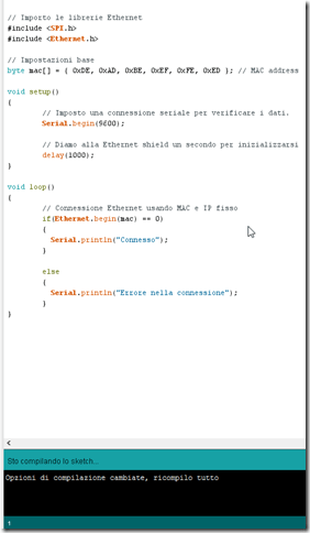 11 Compilazione sketch thumb1 - Sviluppare con Arduino due