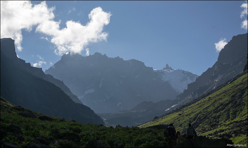 Snow-capped peaks as seen from the camp at Balu ka Gera, Hampta Pass Trekking