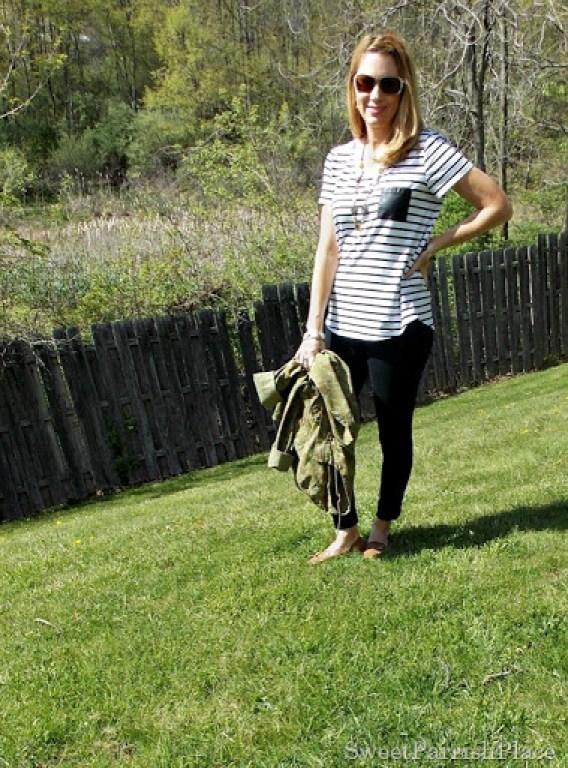 Black Leggings, Striped shirt, camoflauge jacket, brown loafers2
