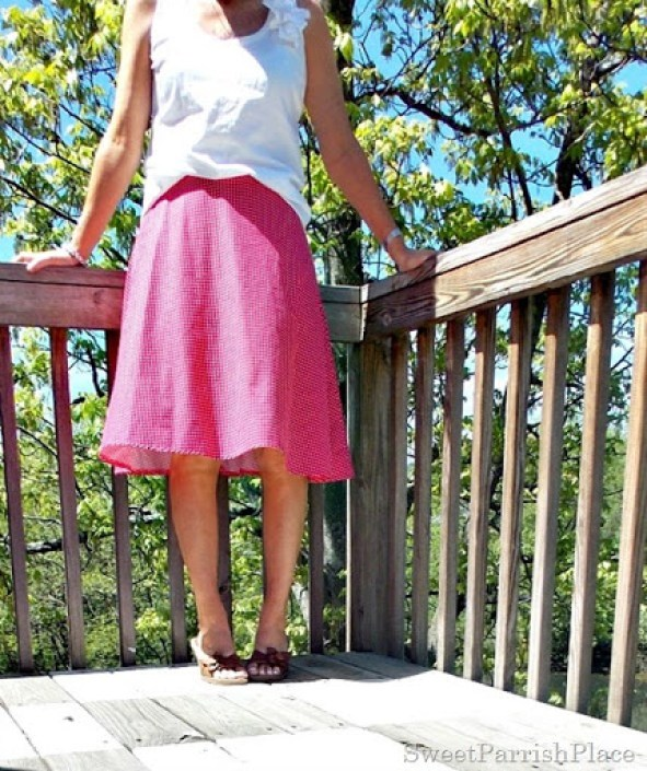 pink polka dotted skirt, white tank, brown sandals3