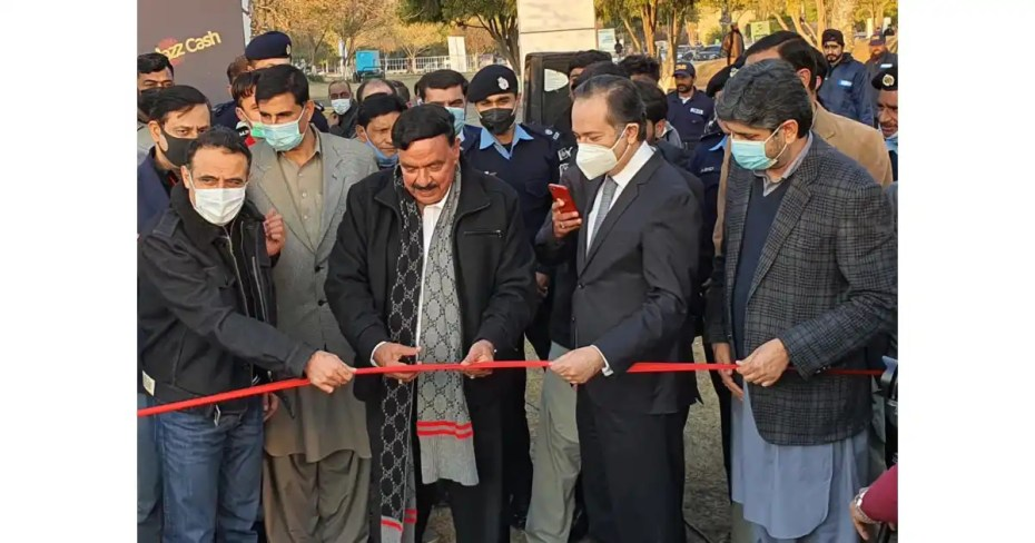 Interior Minister Sheikh Rashid inaugurates the Jazz Drive-In Cinema