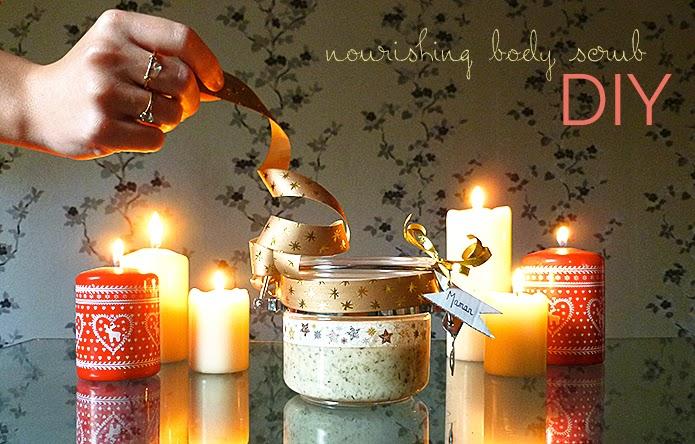 nourishing body scrub, DIY body scrub, natural skin care, home made body care, DIY personalised christmas gift