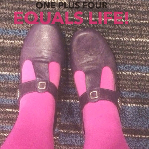 Purple shoes and pink tights